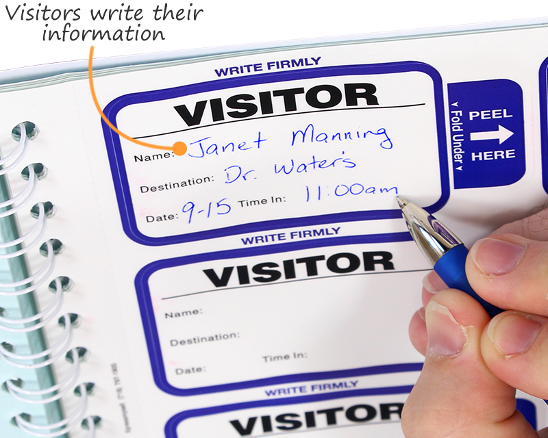 Visitors write their information