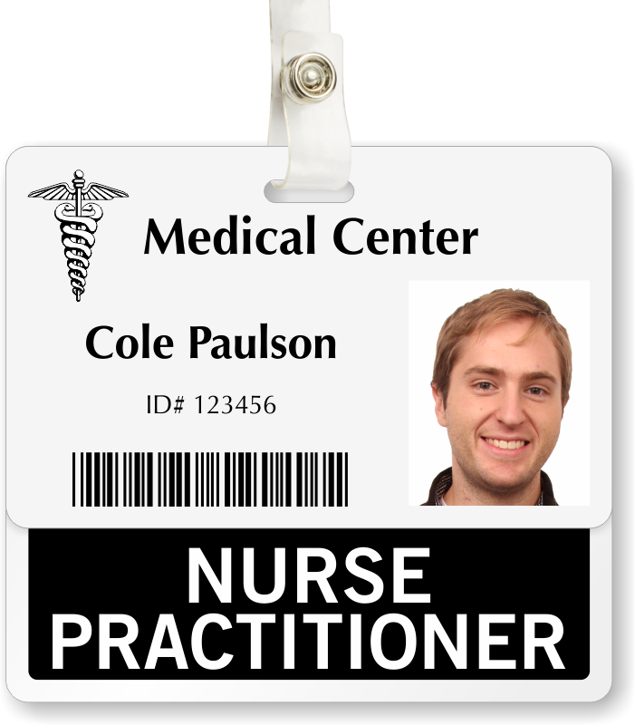 Nurse practitioner badge buddy for horizontal id cards for Badge buddy template