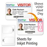 Sheets of TAB-Expiring Inkjet Badge, 3 in.