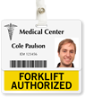 Forklift Authorized Badge Buddy For Horizontal ID Cards