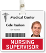 Nursing Supervisor Badge Buddy For Horizontal Id Cards