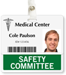 Safety Committee Badge Buddy For Horizontal ID Cards
