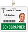 Sonographer Badge Buddy For Horizontal Id Cards