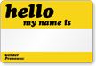 Hello, My Name Is Gender Pronouns Label