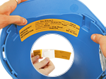 Self-Laminating Emergency Medical Information Hard Hat Labels
