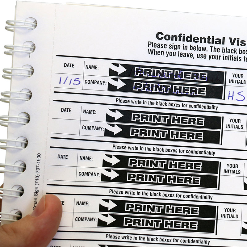 Confidential Visitor Sign In Sheets Book Protect Privacy