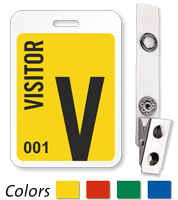 Visitor Reusable ID Badge With Bulldog Clip