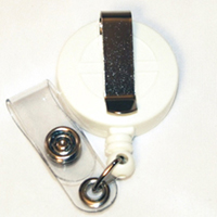 Economy Badge Reel, Clip-On - White