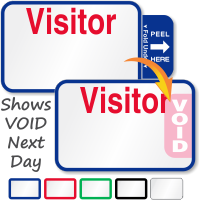 Expiring Visitor Label with Name and Destination