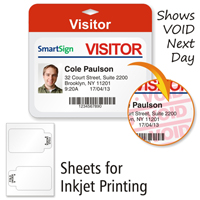 Sheets of FULL-Expiring Inkjet Badge, 3 in.