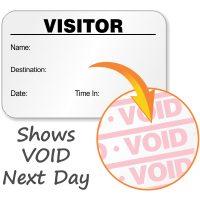 Full-Expiring Visitor Badge with Name, Destination