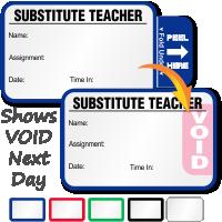 Tab-Expiring Substitute Teacher Labels Book