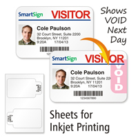 Sheets of TAB-Expiring Inkjet Badge, 3 in.