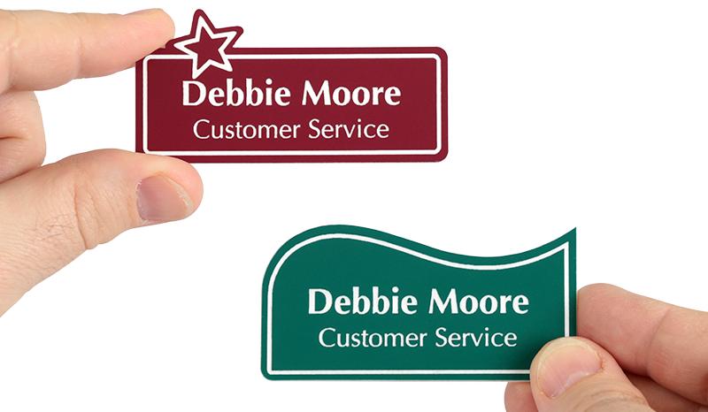 custom shape name badges from mynamebadges